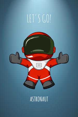 gravedad: ilustraci�n de dibujos animados astronauta en traje espacial que abandonan y las moscas. Concepto de gravedad cero, los viajes