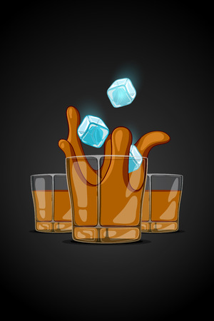 falling cubes: cartoon illustration drawn glass with alcohol drink with ice cubes falling and splash liquid.
