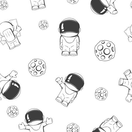 cartoon astronaut: seamless pattern on the space theme. Concept. Cartoon astronaut in outer space Illustration