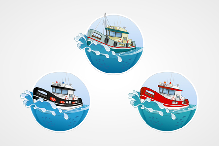 motor boat: set of elements. Moving speed fishing, rescue and police boat. Deep sea with wave. Round computer icons for applications or games. template. Handdrawn Illustration