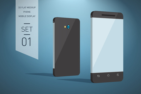 perspective: Minimalistic 3d flat illustration of mobile phone. perspective view. Mockup generic smartphone. Template for infographics or presentation UI design Illustration
