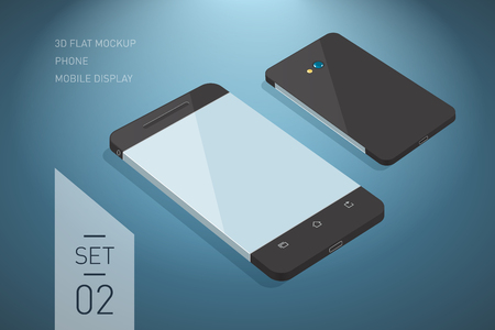 perspective: Minimalistic 3d isometric flat illustration of mobile phone. perspective view. Mockup generic smartphone. Template for infographics or presentation UI design Illustration