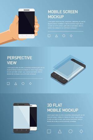 generic: Set of minimalistic 3d isometric illustration cell phone. perspective view. Mockup generic smartphone. Template for infographics or presentation UI design. Concepts graphic design, UI, UIX, web banner, printed materials Illustration