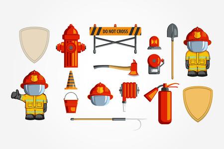 Colorful vintage flat icon set. illustration for infographic. Firefighter Equipment and volunteer emblem