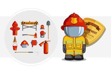 gaff: Colorful vintage flat icon set. illustration for infographic. Firefighter Equipment and volunteer emblem