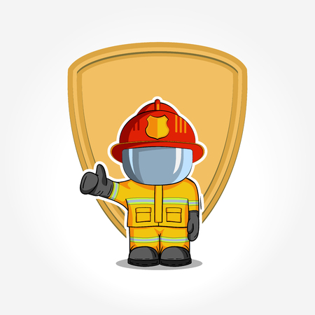 raises: illustration. Isolated character firefighter in protective suit stands and raises his finger up. Smoke on a blue background