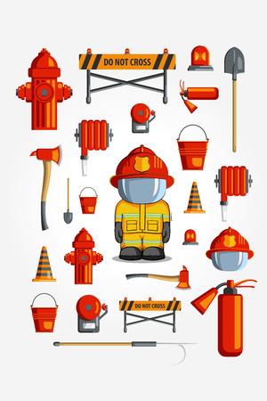 barrage: Colorful vintage flat icon set. illustration for infographic. Firefighter Equipment and volunteer emblem