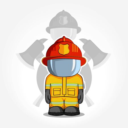 protective suit: illustration. Isolated character firefighter in protective suit stands