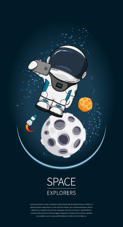 Modern design illustration with astronaut in space. universe exploration and new technology. Template for poster Ilustrace