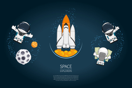 spaceflight: Set of Modern design illustration with rocket Launch, astronaut, planet. universe exploration and new technology. Template for poster. Illustration