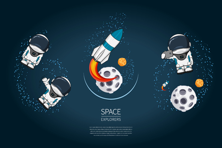 Set of Modern design vector illustration with rocket Launch, astronaut, planet. universe exploration and new technology. Template for poster