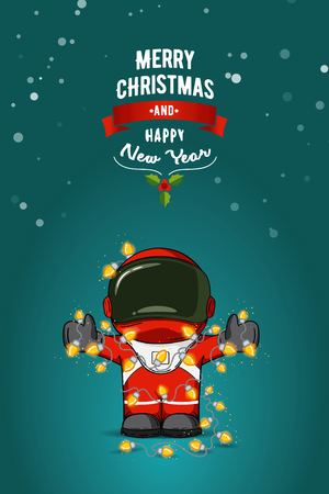 cartoon space: flat illustration. Cartoon astronaut in spacesuit with garland of Christmas lights. Greeting card Illustration