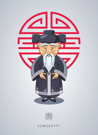 Wise old man in Asian attire icon.