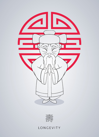 Cartoon hand drawn Asian gray-haired wise old man in national clothes with ornament and hat on background of symbol longevity. Illustration