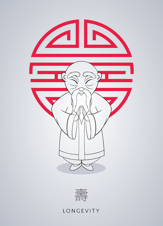 Cartoon hand drawn Asian gray-haired wise old man in national clothes with ornament on background of symbol longevity.