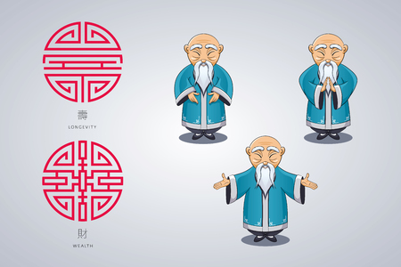 Set of vector illustration Asian old man in national clothes in different poses. Ancient symbol of longevity and wealth. Character stands. Hands are placed on sides or folded in welcome gesture. Vettoriali
