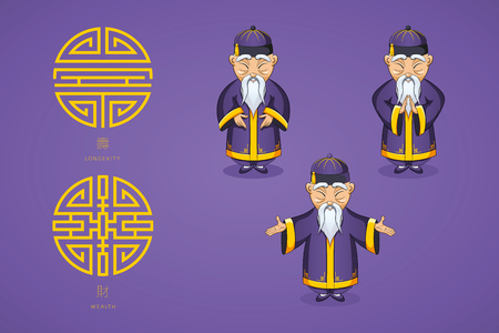 Set of vector illustration Asian old man in national clothes in different poses. Ancient symbol of longevity and wealth. Character stands. Hands are placed on sides or folded in welcome gesture. Stock Illustratie