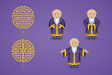 Set of vector illustration Asian old man in national clothes in different poses. Ancient symbol of longevity and wealth. Character stands. Hands are placed on sides or folded in welcome gesture. Ilustrace