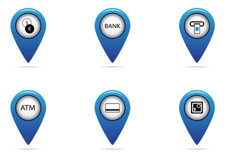 bank en financiële tag set voor map toerist Stock Illustratie