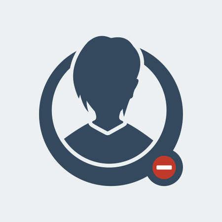 minus sign: Female. User profile icon with minus sign. Illustration