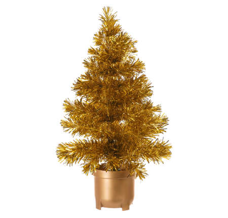 golden christmas tree isolated on a white background Stock Photo