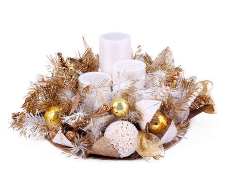 candle holder: Decorative christmas composition with candle holder isolated on a white