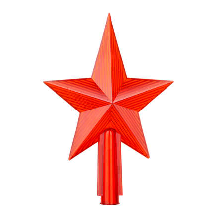 brigt: Plastic brigt red star. A Christmas ornament isolated on a white Stock Photo