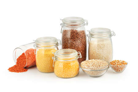 grits: Glass Jars with Grits isolated on a white