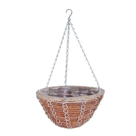 hanging basket: Hanging basket plant isolated on white background Stock Photo