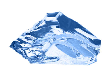 lopsided: Ice cube isolated on white.