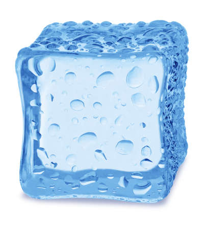 lopsided: Cubes of ice on a white background.