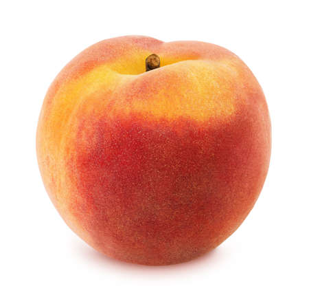 桃は白で隔離。フィールドの完全な深さ。 写真素材