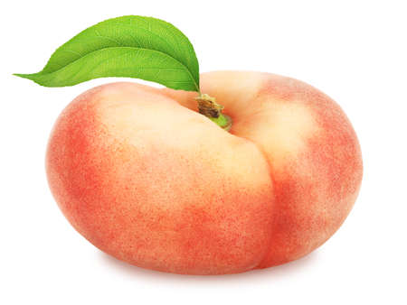 Flat peach with leaf. Full depth of field. Stock Photo