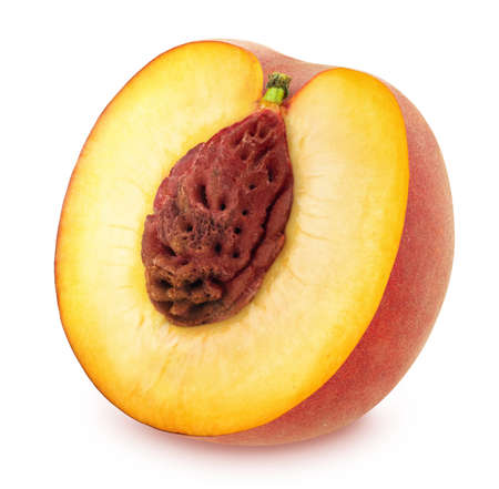 pip: Half of Ripe Peach Isolated on White Background