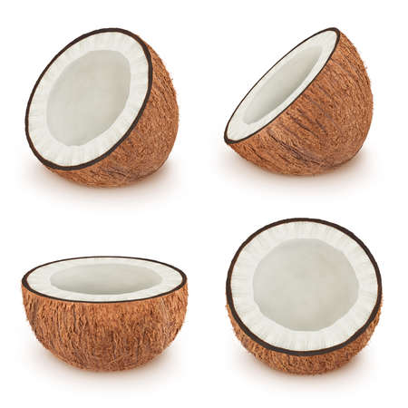 Set of coconuts isolated on a white.