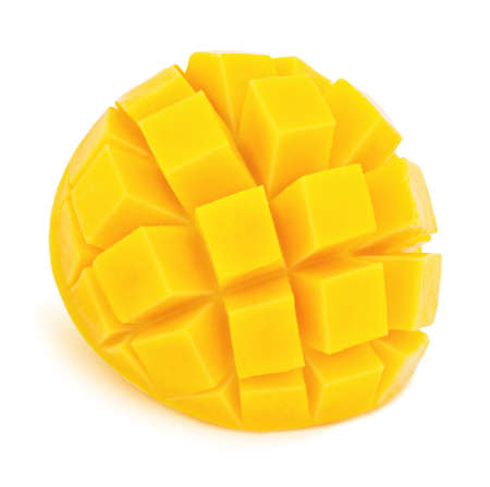 Carved mango isolated on white background. As package design element. Imagens