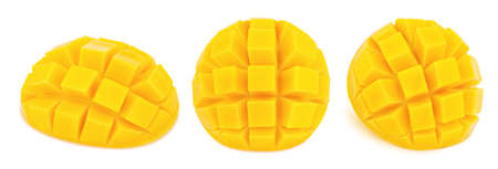 Carved mangoes isolated on white background. As package design elements.