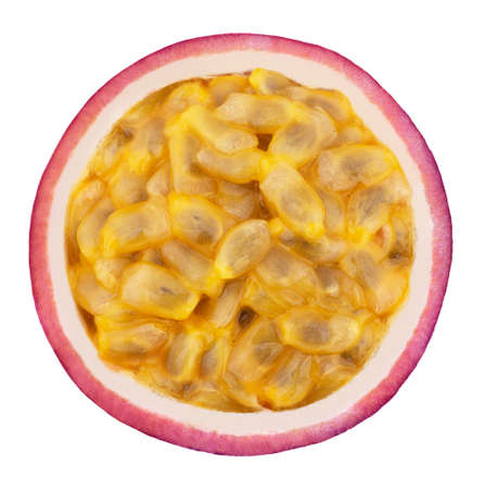 Half of passion fruit isolated on a white background.