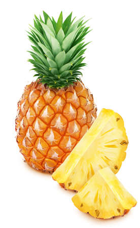 Whole pineapple with slice isolated on white background.