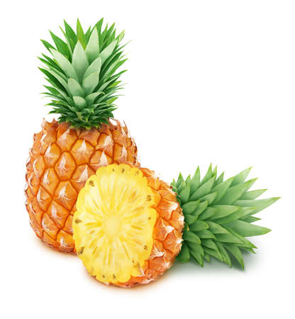 Whole and halved pineapples isolated on white background. Full depth of field.