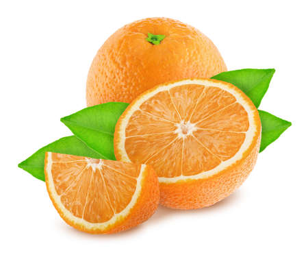 Composition with oranges isolated on white background.