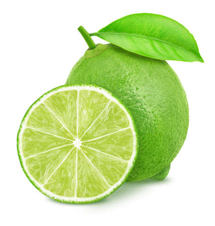 Whole and halved limes isolated on white background. Full depth of field.