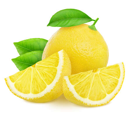 Composition with lemons isolated on white background. 版權商用圖片