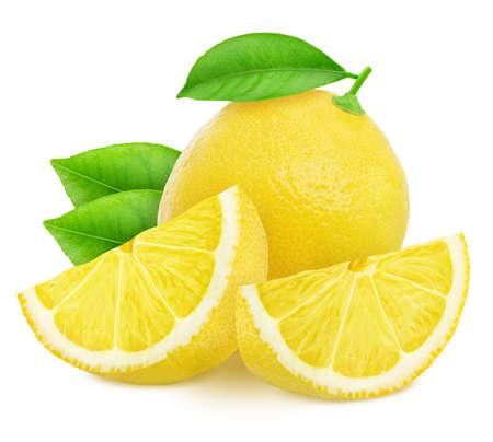 Komposition mit Zitronen auf weißem Hintergrund. Standard-Bild
