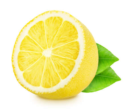 Half of lemon with leaves isolated on white background.