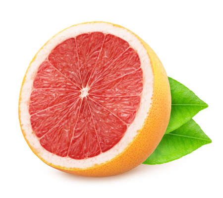 Half of grapefruit with leaves isolated on white background.