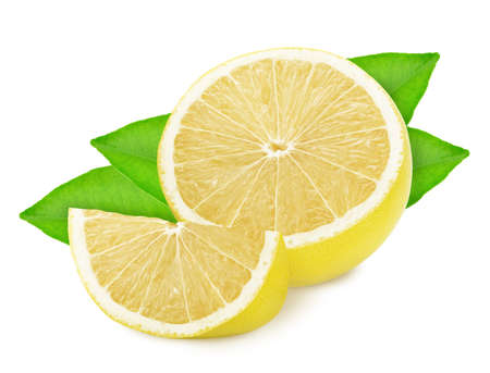 Half and slice of white grapefruit with leaves isolated on white background.
