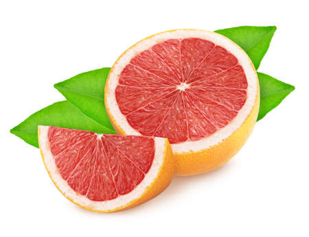 Half and slice of grapefruit with leaves isolated on white background. Stock Photo