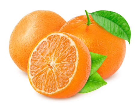 Composition with tangerines isolated on white background.