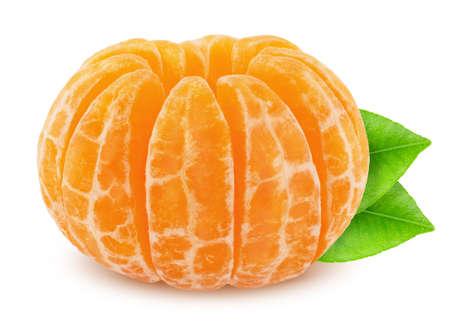 Shelled mandarin with leaf isolated on white background